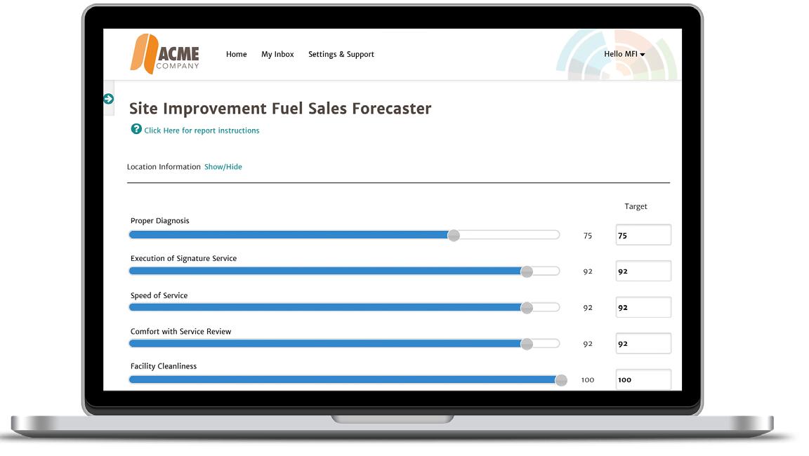 fuel sales forecaster website on laptop